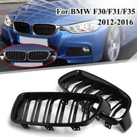 Front Kidney Grill Grilles For BMW F30 F31 3-Series Gloss Black Dual Line 12-16