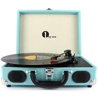 1byone Belt-Drive 3-Speed Portable Stereo Turntable Built-In Speakers Turquoise