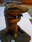 Sergio Bustamente Large Ceramic Alligator Golfing Florida Gators Golf Sculpture