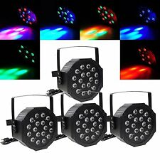 4PCS 18x LED PAR CAN Stage DMX Lighting RGB DJ Disco Party Wedding Uplighting