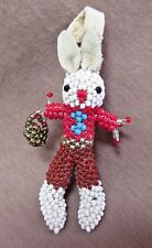 Native Zuni Beaded Easter Bunny w Basket Figure by Todd Poncho - M0061