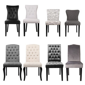 Soft Fabric Dining Chair Set of 4 2 Kitchen Chairs with Wood Legs Living Room UK