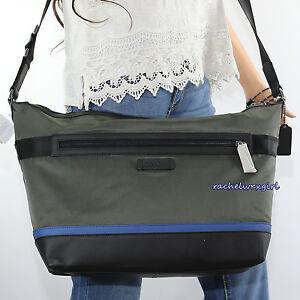 NWT Coach Men's Nylon Messenger Crossbody Business Bag F71143 Olive Green NEW
