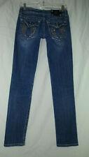 MISS ME 26 Denim Embellished Angel Wings Distressed Skinny Jeans 26X30 JP60035