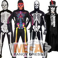 Skeleton Halloween Mens Fancy Dress Party Adult Costume Outfit + Mask - New