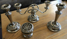 "Vintage Ianthe Silver Plated 7.5"" Candlesticks, Candelabra And Bowl"