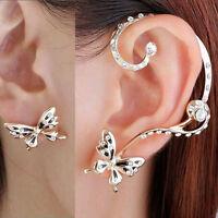 1 Pair Women Crystal Rhinestone Ear Clip Cuff Butterfly Earring Ear Stud New#