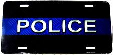 Novelty license plate Medical/Emergency POLICE blue stripe new aluminum LP-8534