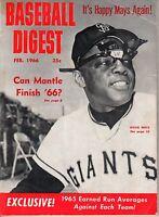 1966 (Feb.) Baseball Digest Magazine, Willie Mays, San Francisco Giants ~ Fair