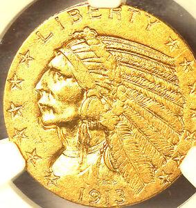1913-S $5 AU55 NGC-INDIAN