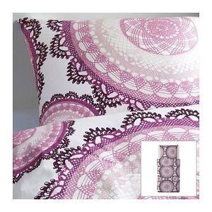 IKEA Bettwäsche Lyckoax 2-teilig 155 x 220 cm Bettbezug weiß lila rosa Neu! OVP