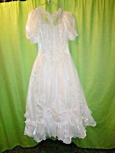 Retro- Brautkleid, Hochzeitskleid mit Schleier aus den 90-ern, Gr. 34-36