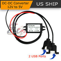 Waterproof DC-DC Converter 12V Step Down to 5V 2 USBs Power Supply Module 3A 15W
