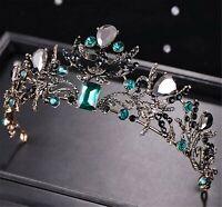 Women Retro Green Black crystal Rhinestone Party Hair Headband Crown Tiara