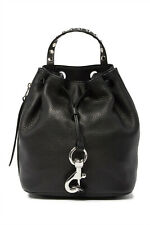 NWT REBECCA MINKOFF Blythe Drawstring Studded Leather Backpack BLACK AUTHENTIC