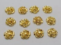 100 Gold Tone Metallic Acrylic Flatback Flower Stud 10mm No Hole Cell Phone Deco