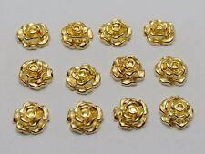 100 Gold Tone Metallic Acrylic Flatback Flower Stud 10mm No Hole Cell Phone Deco
