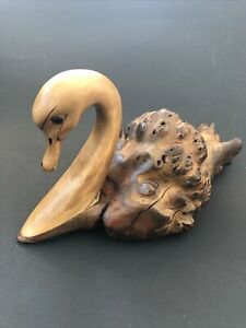 N.A. Needham Signed Wooden Art Carved SWAN Driftwood & Cottonwood Ontario Canada