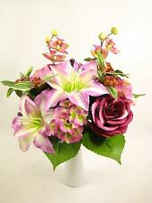Pink Artificial Silk Flowers Lily Rose Orchid Bush Mixed Floral Arrangement