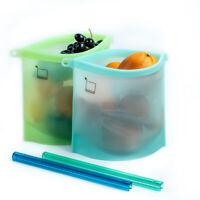 Silicone Food  Bags 2 Pcs Lunch Bags Fruit bags Sandwich bag  (50 OZ/1500ML)