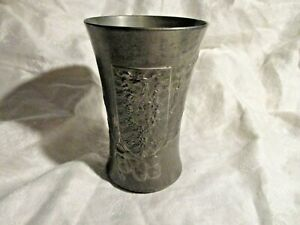 Kayserzinn Vase or Cup with Oak Leaves and Shield