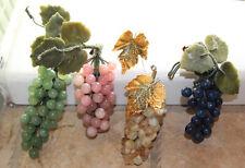 "Lot 4 Vintage Carved Polished Stone Grape Clusters Pink Quartz Lapis Jade 5"""