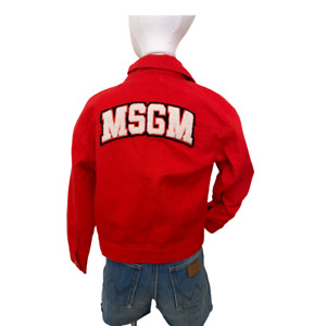 MSGM Hot RED Raised LOGO Cropped Denim