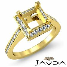 Princess Cut Semi Mount Diamond Engagement Halo Pave Ring 18k Yellow Gold 0.5Ct