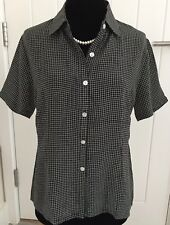 100% Pure Silk Ladies Black /white Check Shirt Size 44 for UK 12 Brand New