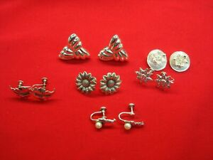 6 DIFF. PAIRS OF VINTAGE STERLING SILVER CLIP ON / SCREW BACK EARRINGS -ALL NICE