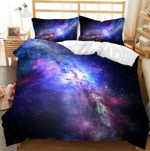 3D Firmament Space Comforter Cover Pillowcase Bedding Set Single Double King New