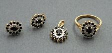 Women's 9ct Gold & Sapphire Diamond Ring Pendant & Earring Set Vintage Jewellery