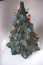 HAND CRAFTED CHALKWARE CHRISTMAS TREE WITH PLASTIC DECORATIONS