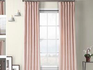 Lot of 2 Ballet Pink Velvet Room Darkening Thermal Rod Pocket Curtain Panels
