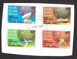 NAURU 1981 10th ANNIV SOUTH PACIFIC FORUM SET 4 STAMPS ON PAPER First Day pm