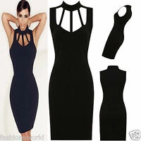 New Womens Ladies Black Cut Out Celebs Inspired Bodycon Going Out Party Dresses