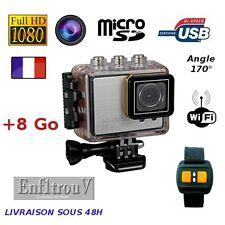 Camera sport WiFi Full HD 1080P étanche +8Go boitier waterproof argent