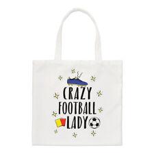 Crazy Football Lady Small Tote Bag - Funny Soccer Shopper Shoulder