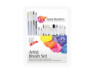 -Artist Paint Brushes Set Professional Brush Wooden 15PC OIL ACRYLIC WATERCOLOUR