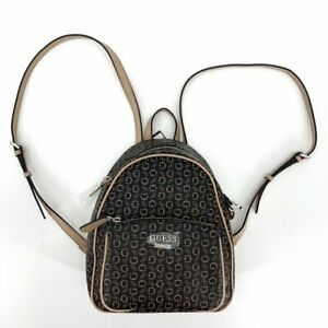 GUESS Black Tan Pandore Small Backpack Logo Adjustable Straps Purse NWT