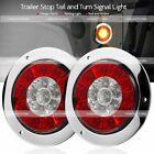 Pair 4 Round Redamber 16 Led Truck Trailer Brake Stop Turn Signal Tail Lights