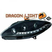 LHD Projector Headlights Pair LED Dragon DRL Lights Black For Seat Leon 04-09