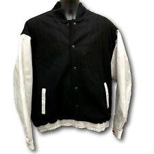 Varsity Coat 3XL Black White Letterman Baseball University Leather Sleeves NEW