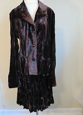 Drama Blazer Jacket & Tiered Skirt Dress Set Iridescent Brown M L 10 Dressy