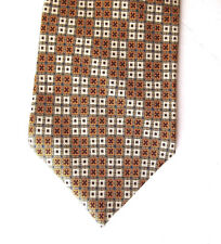 Gap Premium Mens Necktie Tie Orange Green Beige Checkered 100% Silk USA 60""