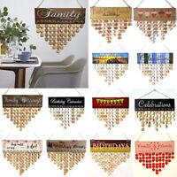 Wooden DIY Calendar Hanging Plaque Board Family Birthday Wedding Reminder Decor