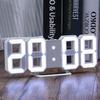 Digital 3D Large White LED Wall Clock Alarm Clock Snooze 12/24 Hour Display USB