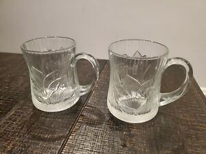 Set of 2 Canterbury Crocus Etched Flower Leaf Glcoloc France Glass Mug