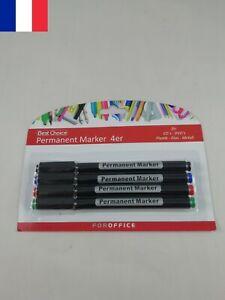 4 Marqueurs Permanents Pointe Fine 4 Couleurs Feutre Indélébile CD DVD