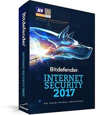 Bitdefender INTERNET SECURITY 2017, 3 PCs 1 Year - LATEST RETAIL DVD CASE